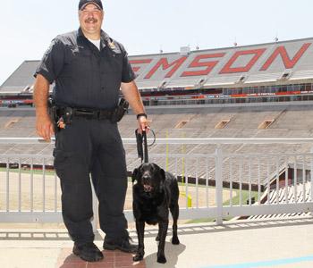 Former Clemson University bomb-sniffing dog settles into retirement