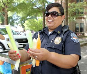 Clemson officers pass out popsicles