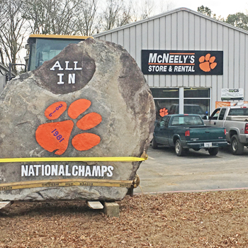 Clemson commemorative rock on display