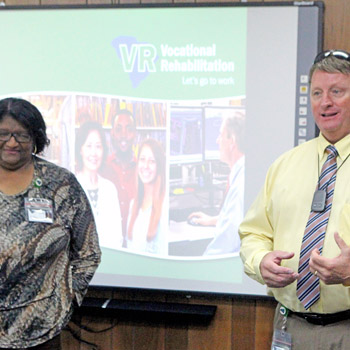Group working with homeless visits Vocational Rehabilitation