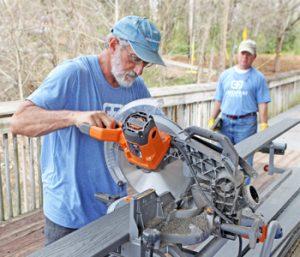 Volunteers working on Abernathy Park boardwalk