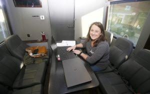Mobile job fair bus visits Seneca | Test