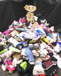 Library collects more than 1,000 pairs of socks for charities