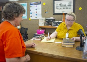 Group donates $7K for library desk